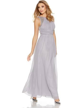 dde984a4ab Grey Chiffon High Neck Embellished Maxi Dress from Quiz Clothing