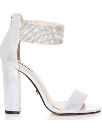 2a6eb01cee4 Silver Diamante Ankle Strap Block Heel Sandals from Quiz Clothing