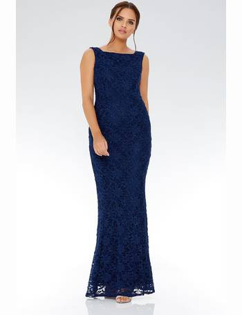 a071dccb Navy Glitter Lace Fishtail Maxi Dress from Quiz Clothing