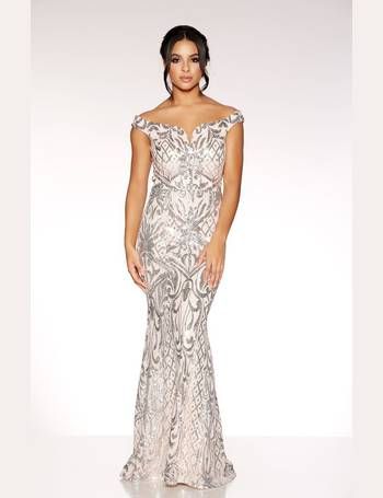 91baa597077 Pink And Silver Bardot Fishtail Maxi Dress from Quiz Clothing