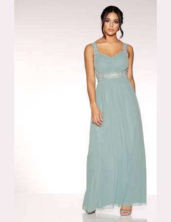 1d341b29a422cf Sage Green Chiffon V Neck Embellished Maxi Dress from Quiz Clothing
