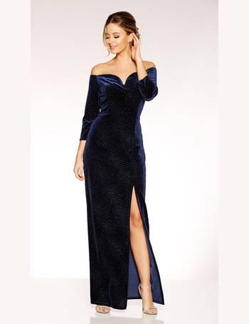 2ca710d827 Navy Velvet Glitter Bardot Maxi Dress from Quiz Clothing
