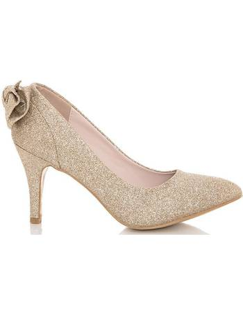 591821a84d66 Gold Glitter Mid Heel Court Shoes from Quiz Clothing