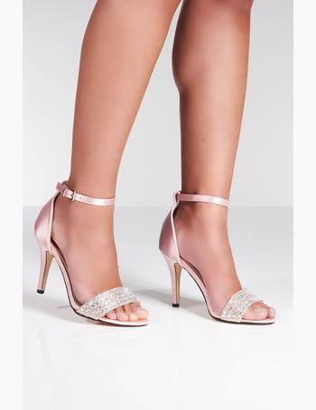 749ace37a58 Pink Satin Diamante Strap Heel Sandals from Quiz Clothing