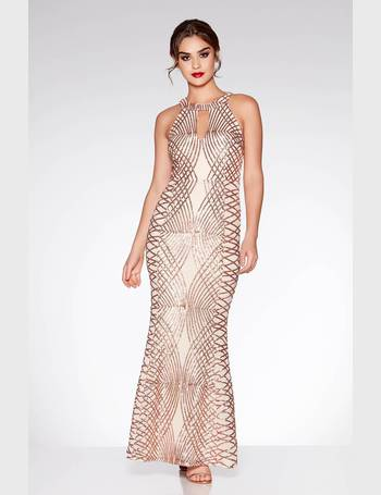 66d577ae Rose Gold Sequin and Mesh Fishtail Maxi Dress from Quiz Clothing