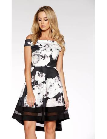 748296eed27 Black And Cream Floral Print Bardot Skater Dress from Quiz Clothing
