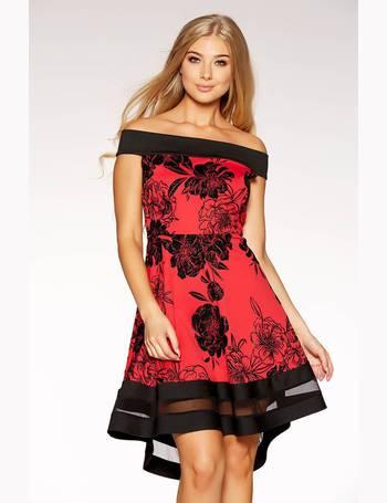 02671787 Red And Black Glitter Flock Floral Print Bardot Dip Hem Dress from Quiz  Clothing