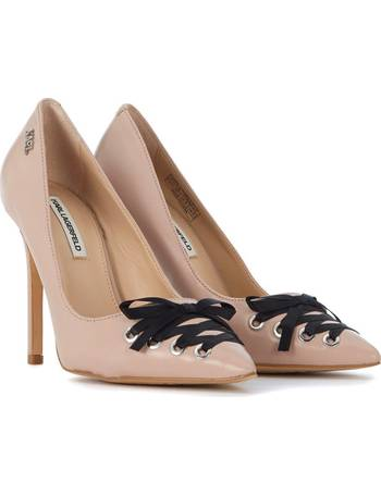 Karl Lagerfeld. Décolleté pink leather with bow women's Court Shoes ...