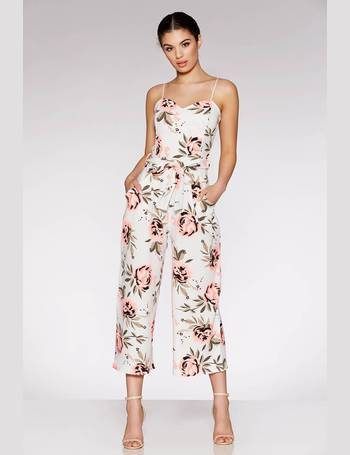 a76b2706a7b Cream And Coral Floral Print Culotte Jumpsuit from Quiz Clothing