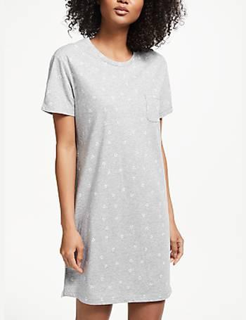 John Lewis   Partners. Anika Anchor Print Short Sleeve Cotton Nightdress f6772199e