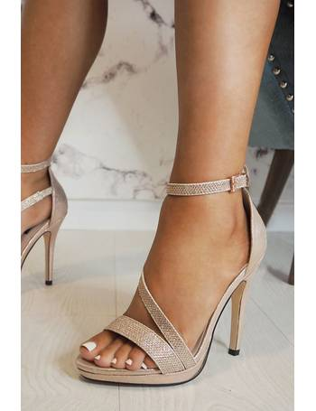 5eafd9a5389 Gabby s Rose Gold Shimmer Strap Heel Sandals from Quiz Clothing