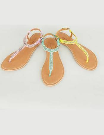 370250715 Mint Green Leather Strap Diamanté and Bead Sandals New Look from New Look