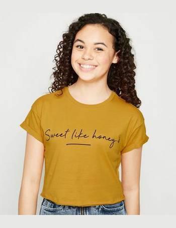 79ddf8cbdc54 Girls Mustard Sweet Like Honey Slogan T-Shirt New Look from New Look