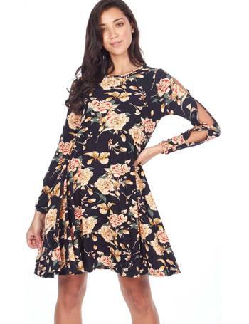 9d5c2f005034 IRANIA - Split Sleeve Swing Floral Print Black Dress from Blue Vanilla