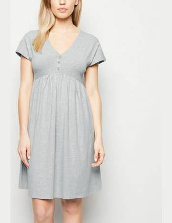0b962574489a7 Maternity Grey Marl Button Front Smock Dress New Look from New Look