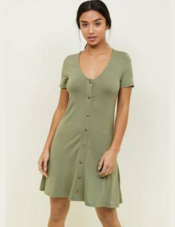 1f34fe0ddce0 Petite Khaki Button Front Mini Swing Dress New Look from New Look