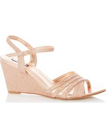171b8ae26e1 Womens Quiz Rose Gold Wedge Sandals- Rose Gold