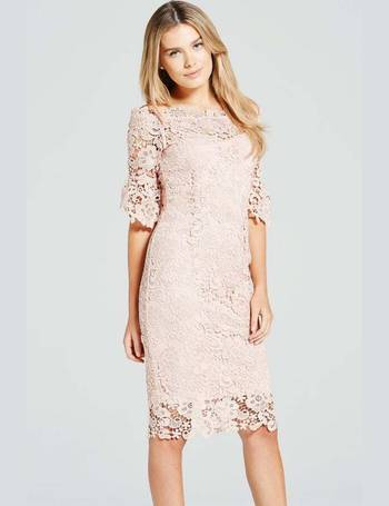 Paper Dolls Multi Bardot Pencil Dress in Multi Print with Lace Trim UK 10 38 £55