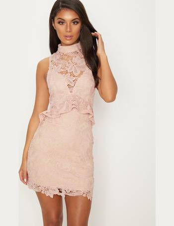 afe276007ac Dusty Pink Lace High Neck Frill Detail Bodycon Dress from Pretty Little  Thing