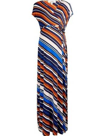 384058d144588 Womens Maternity Multi Colour Stripe Print Wrap Nursing Maxi Dress- Blue  from Dorothy Perkins
