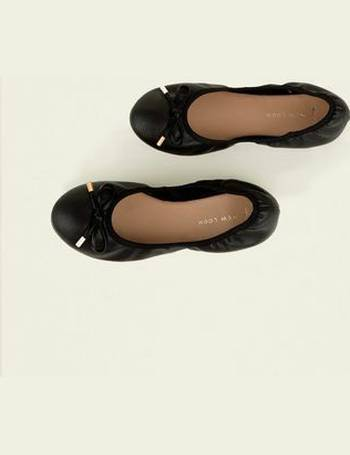 faa7ba4a35 Wide Fit Black Bow Front Elasticated Ballet Pumps New Look from New Look