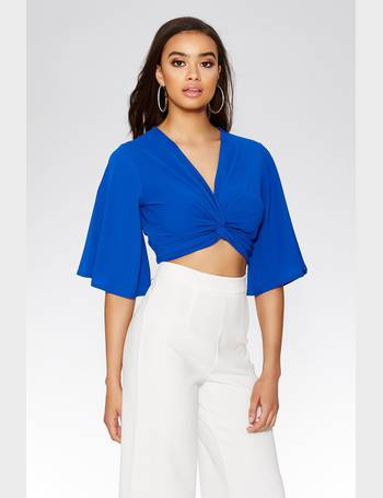 b353e110c7487 Royal Blue Knot Front Crop Top from Quiz Clothing