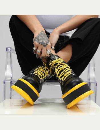 b4d6244e9e9 Black and Yellow Extra Chunky Matrix Platform Boots from KOI Footwear