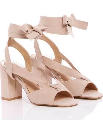 fb1098378 Truffle Collection Wide Fit Block Heel Nude Suede Sandals from Pink Clove