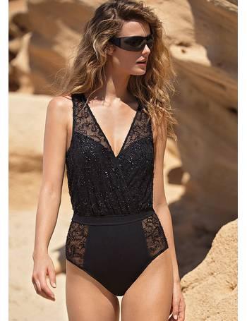 f9e603739b791 Gottex. Couture Lace Onyx V Neck Blouson Swimsuit. from UK Swimwear