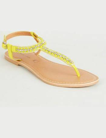 a56d69002 Yellow Leather Strap Diamanté and Bead Sandals New Look from New Look