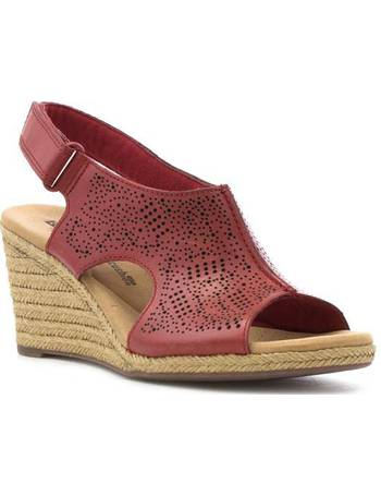 629ef066013e16 Clarks. Womens Red Leather Chop Out Wedge Sandal