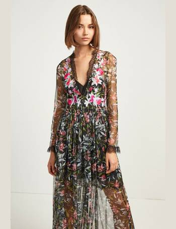 33e1a2832a0 French Connection. Black Flori Embroidered V-Neck Maxi Dress
