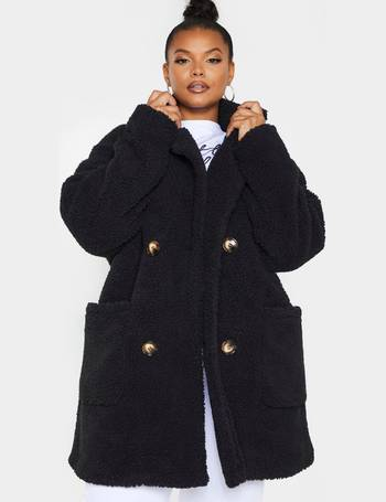 Plus Black Slogan Midi Puffer Coat from PrettyLittleThing on 21 Buttons