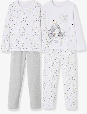 Pack of 2 Sets of Matching Velour Pyjamas for Girls from Vertbaudet 77e6aaadc9872