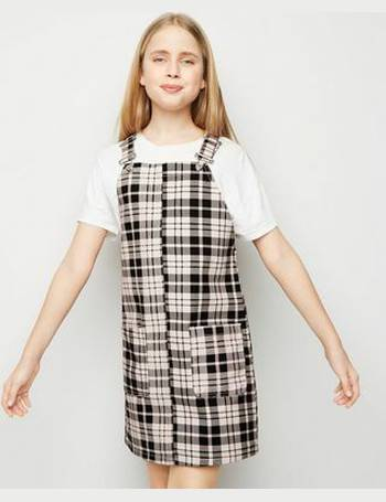 ddfea9e81868 Girls Pink Check Denim Pinafore Dress New Look from New Look