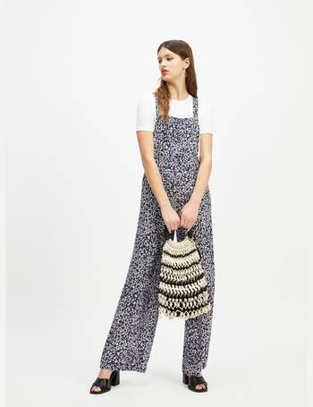 915ad6c6b06a Womens Navy Ditsy Print Pinafore Jumpsuit from Miss Selfridge