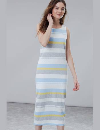 Joules Womens Riva Print Sleeveless Jersey Dress in Palm Stripe