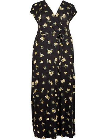 81415cfc Womens Dp Curve Black Ditsy Print Wrap Maxi Dress- Black from Dorothy  Perkins