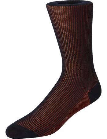 T.M.Lewin Mens Orange and Navy Geometric Socks