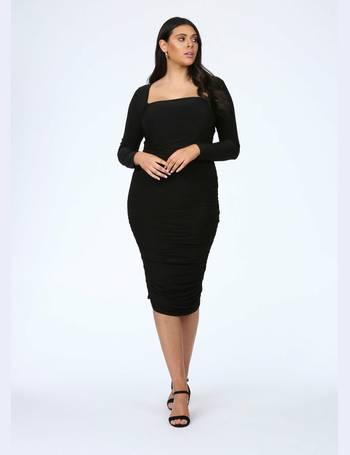 de39ee2a08 Plus Size Black Square Neck Midi Dress from Pink Clove