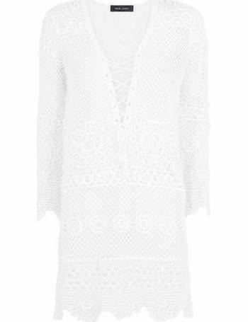 9af990cdd1 White Crochet Lace Up Beach Kaftan New Look from New Look
