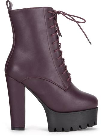 e01f206120a High Heel Burgundy Platform Lace up Boots from KOI Footwear