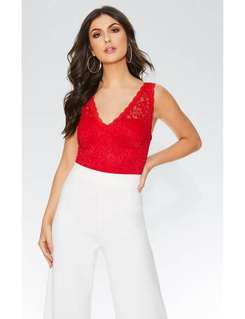 7799d16e74 Red Lace Scallop Bodysuit from Quiz Clothing