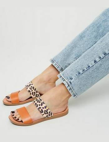 a9da229f0d173 Stone Leopard Print Strap Footbed Sliders New Look from New Look