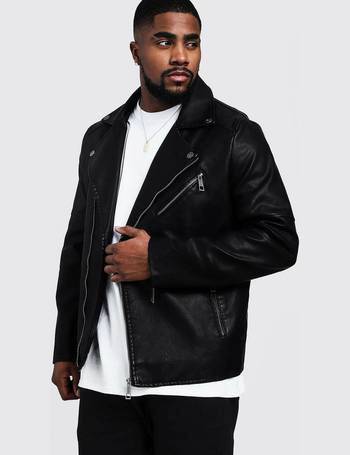 85ee0afce Big and Tall Faux Leather Biker Jacket