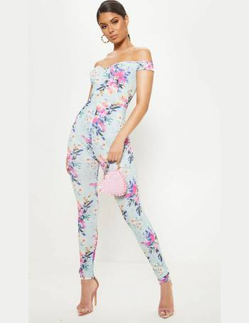 76b63f71f3e Baby Blue Floral Print Bardot Jumpsuit from Pretty Little Thing