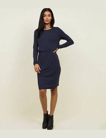 a9a3d93ef2f Maternity Navy Long Sleeve Layered Nursing Dress New Look from New Look