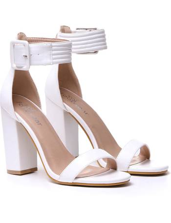 128db2af95 White Wide Ankle Strap and Buckle Heels from KOI Footwear