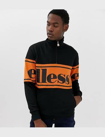 8719c2b9 panel logo sweatshirt with 1/4 zip in black