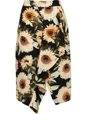 ed0e1dfcfd Womens Multi Sunflower Print Ruffle Pencil Skirt- Yellow from Dorothy  Perkins